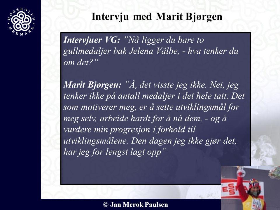 """© Jan Merok Paulsen Intervjuer VG: """"Nå ligger du bare to gullmedaljer bak Jelena Välbe, - hva tenker du om det?"""" Marit Bjørgen: """"Å, det visste jeg ikk"""