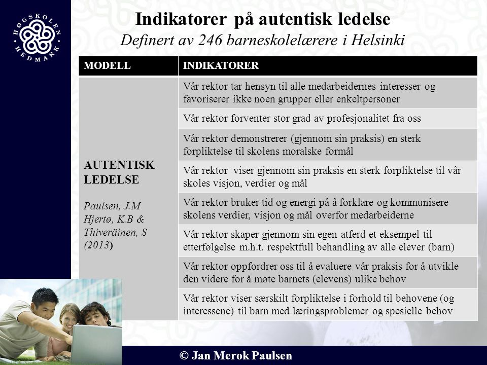 © Jan Merok Paulsen MODELLINDIKATORER AUTENTISK LEDELSE Paulsen, J.M Hjertø, K.B & Thiveräinen, S (2013) Vår rektor tar hensyn til alle medarbeidernes
