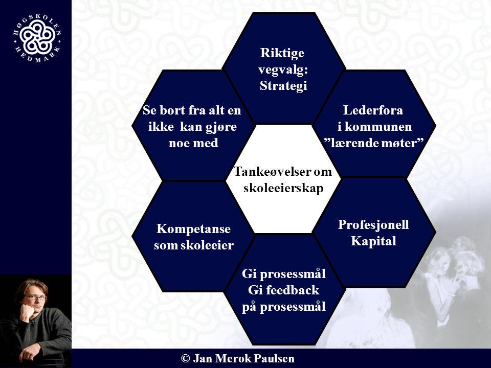 """© Jan Merok Paulsen Tankeøvelser om skoleeierskap Gi prosessmål Gi feedback på prosessmål Riktige vegvalg: Strategi Lederfora i kommunen """"lærende møte"""
