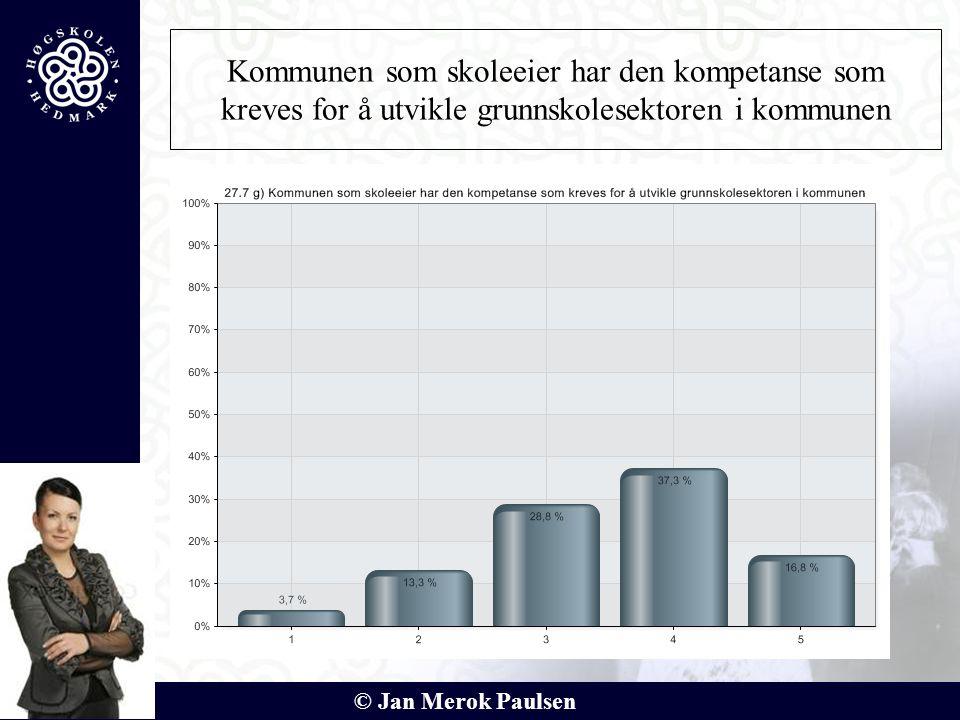 © Jan Merok Paulsen Kommunen som skoleeier har den kompetanse som kreves for å utvikle grunnskolesektoren i kommunen