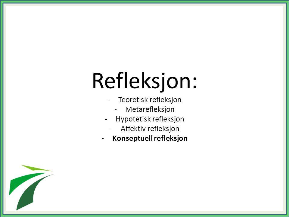 Refleksjon: -Teoretisk refleksjon -Metarefleksjon -Hypotetisk refleksjon -Affektiv refleksjon -Konseptuell refleksjon