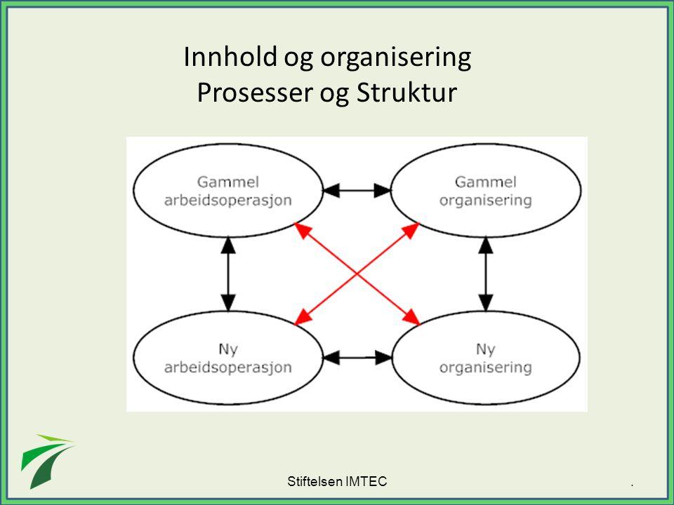 Stiftelsen IMTEC Innhold og organisering Prosesser og Struktur.