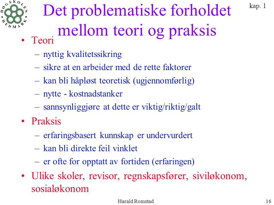 Harald Romstad16 Det problematiske forholdet mellom teori og praksis •Teori –nyttig kvalitetssikring –sikre at en arbeider med de rette faktorer –kan