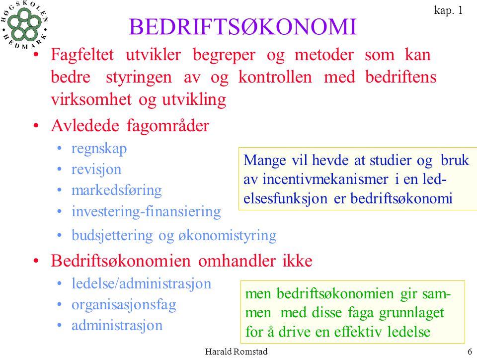 Harald Romstad6 BEDRIFTSØKONOMI •Fagfeltet utvikler begreper og metoder som kan bedre styringen av og kontrollen med bedriftens virksomhet og utviklin