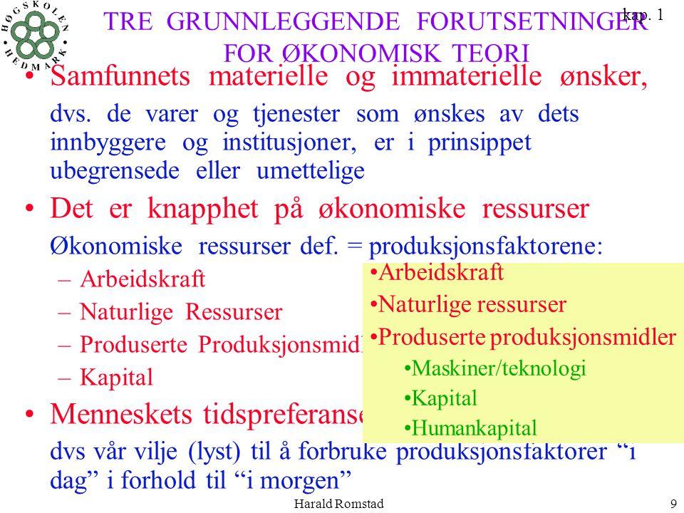 Harald Romstad9 TRE GRUNNLEGGENDE FORUTSETNINGER FOR ØKONOMISK TEORI •Samfunnets materielle og immaterielle ønsker, dvs. de varer og tjenester som øns