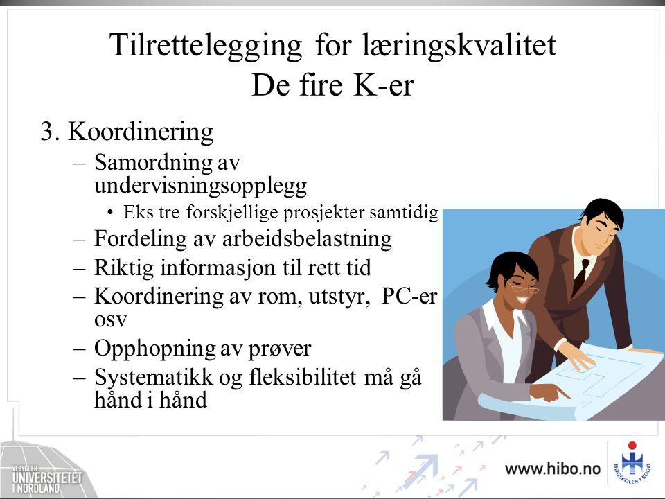 Tilrettelegging for læringskvalitet De fire K-er 3. Koordinering –Samordning av undervisningsopplegg •Eks tre forskjellige prosjekter samtidig –Fordel