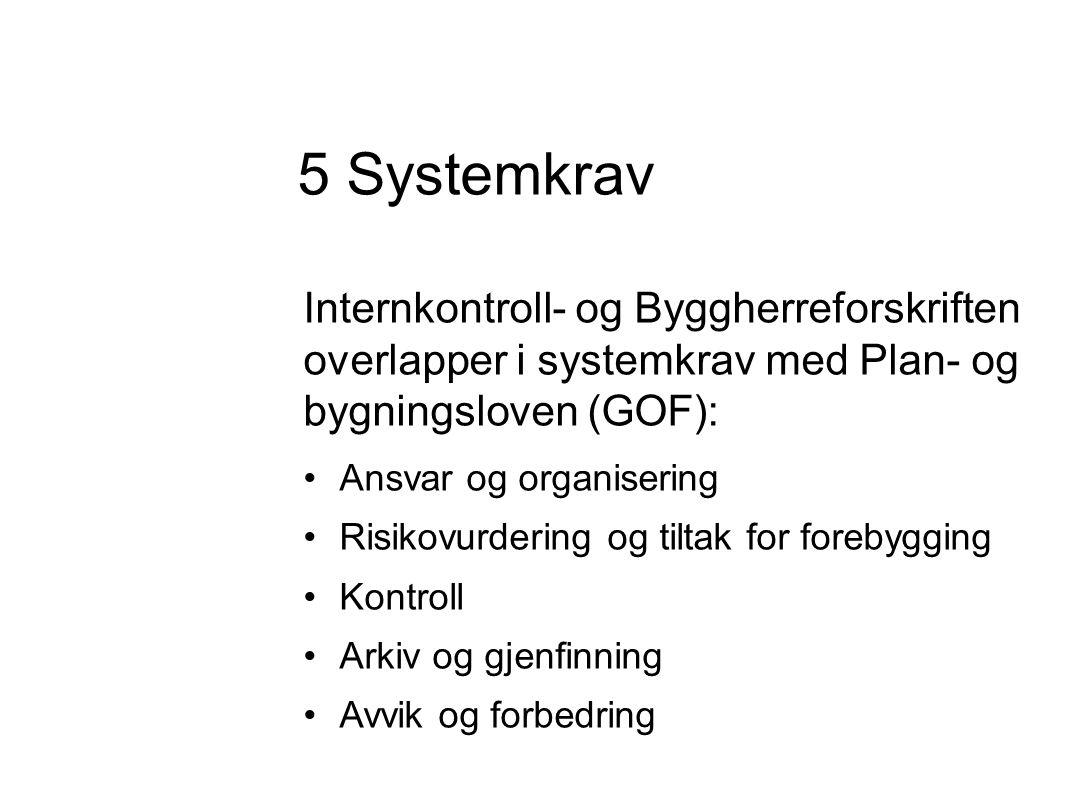 Internkontroll- og Byggherreforskriften overlapper i systemkrav med Plan- og bygningsloven (GOF): •Ansvar og organisering •Risikovurdering og tiltak for forebygging •Kontroll •Arkiv og gjenfinning •Avvik og forbedring 5 Systemkrav