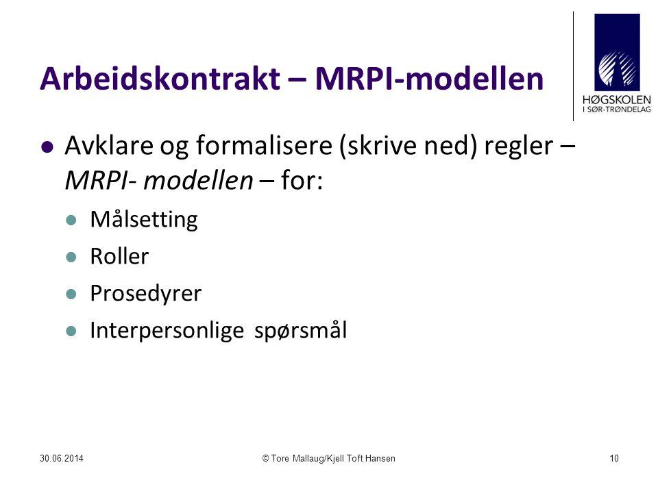 Arbeidskontrakt – MRPI-modellen  Avklare og formalisere (skrive ned) regler – MRPI- modellen – for:  Målsetting  Roller  Prosedyrer  Interpersonl