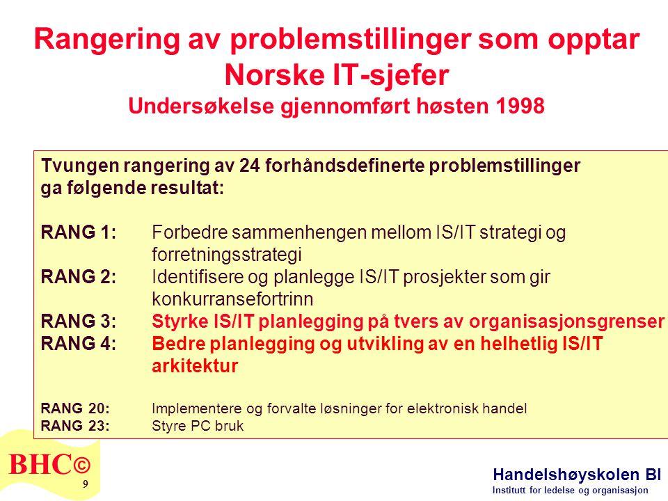 Handelshøyskolen BI Institutt for ledelse og organisasjon BHC © 9 Rangering av problemstillinger som opptar Norske IT-sjefer Undersøkelse gjennomført