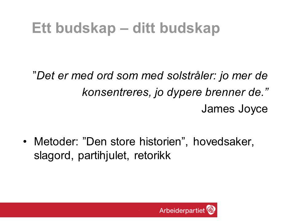 """Ett budskap – ditt budskap """"Det er med ord som med solstråler: jo mer de konsentreres, jo dypere brenner de."""" James Joyce •Metoder: """"Den store histori"""