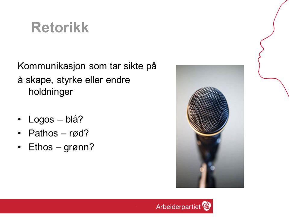 Retorikk Kommunikasjon som tar sikte på å skape, styrke eller endre holdninger •Logos – blå? •Pathos – rød? •Ethos – grønn?