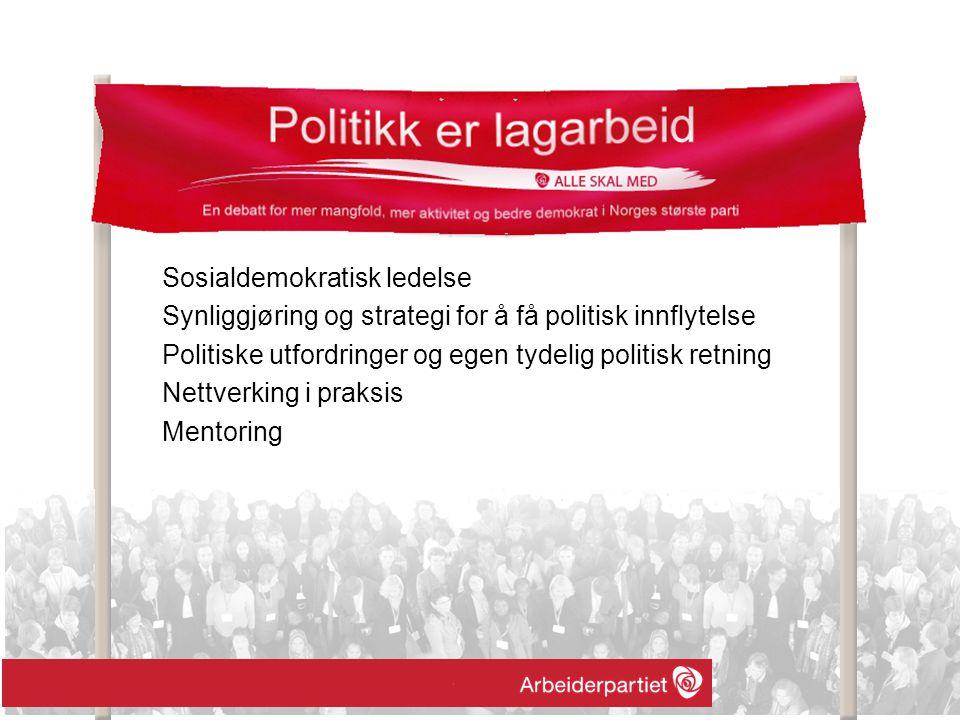 Sosialdemokratisk ledelse Synliggjøring og strategi for å få politisk innflytelse Politiske utfordringer og egen tydelig politisk retning Nettverking