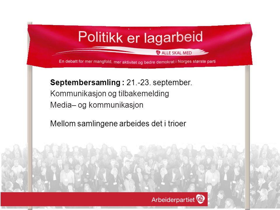 Septembersamling : 21.-23. september. Kommunikasjon og tilbakemelding Media– og kommunikasjon Mellom samlingene arbeides det i trioer