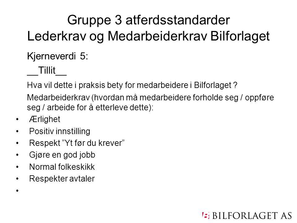 Gruppe 3 atferdsstandarder Lederkrav og Medarbeiderkrav Bilforlaget Kjerneverdi 5: __Tillit__ Hva vil dette i praksis bety for medarbeidere i Bilforla