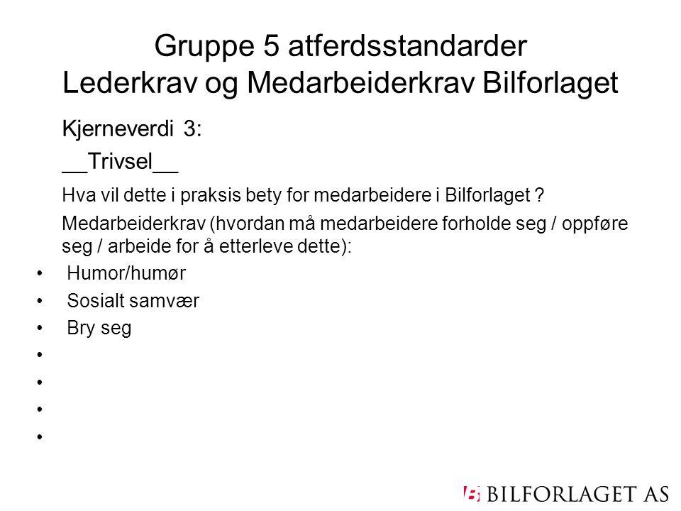 Gruppe 5 atferdsstandarder Lederkrav og Medarbeiderkrav Bilforlaget Kjerneverdi 3: __Trivsel__ Hva vil dette i praksis bety for medarbeidere i Bilforl