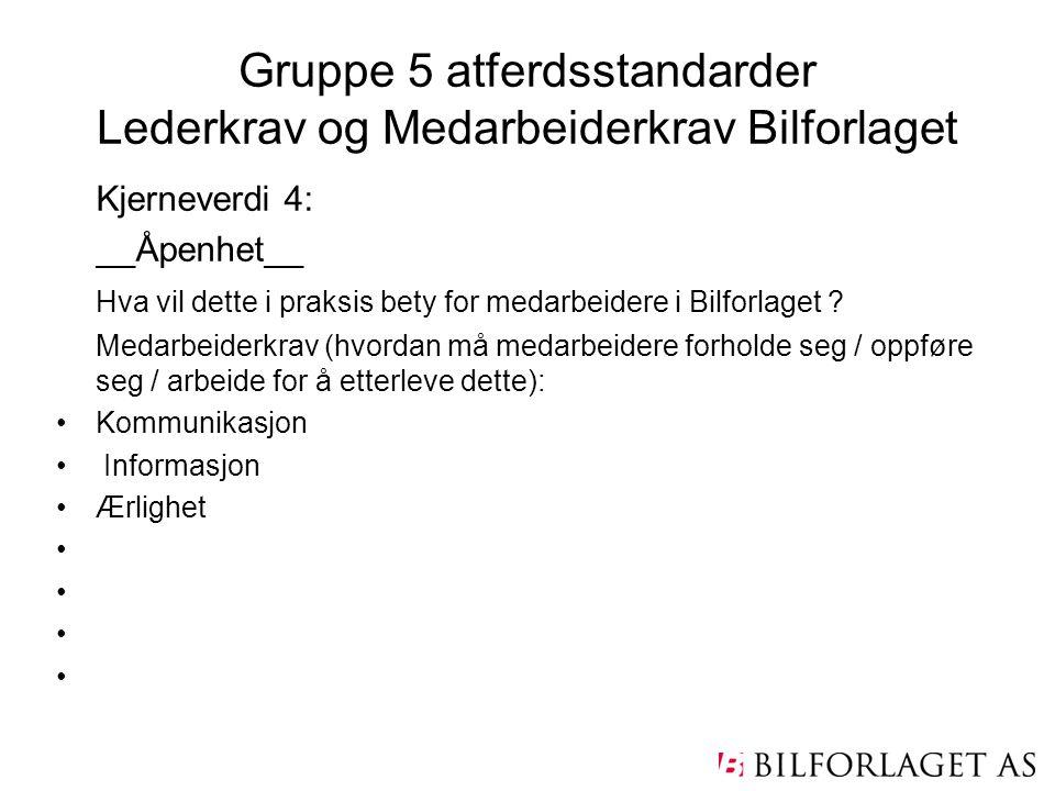 Gruppe 5 atferdsstandarder Lederkrav og Medarbeiderkrav Bilforlaget Kjerneverdi 4: __Åpenhet__ Hva vil dette i praksis bety for medarbeidere i Bilforl