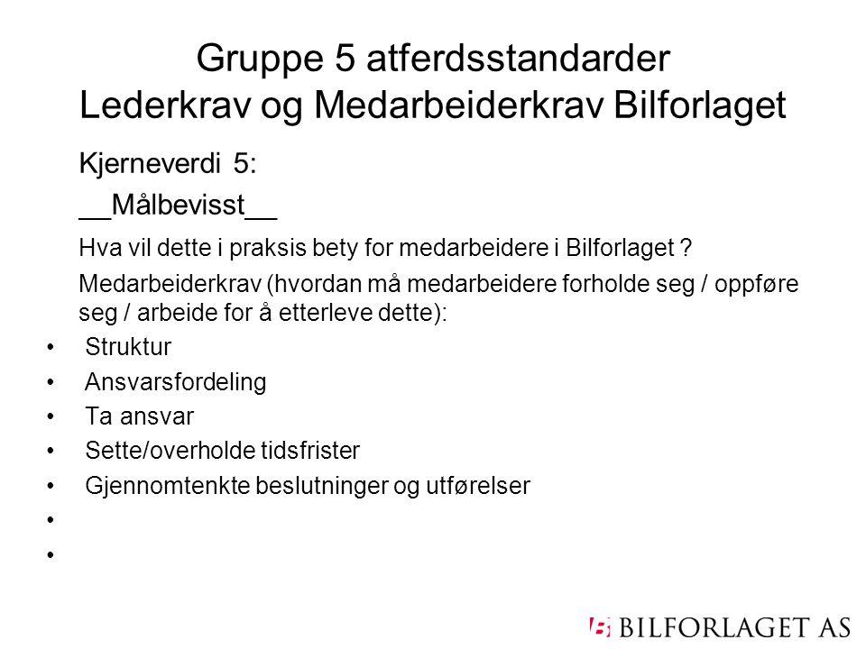 Gruppe 5 atferdsstandarder Lederkrav og Medarbeiderkrav Bilforlaget Kjerneverdi 5: __Målbevisst__ Hva vil dette i praksis bety for medarbeidere i Bilf
