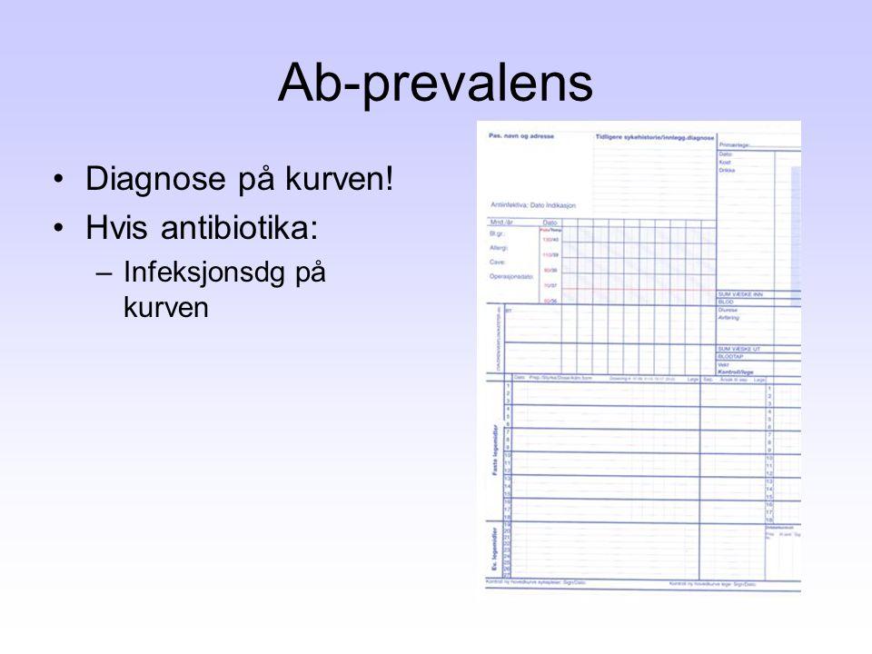 Ab-prevalens •Diagnose på kurven! •Hvis antibiotika: –Infeksjonsdg på kurven