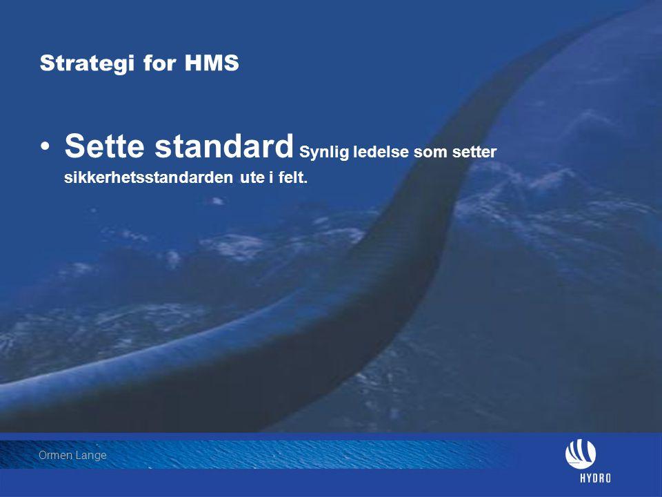 Date: 2004-01-23 • Page: 12 • Hydro Oil & Energy Ormen Lange Strategi for HMS •Sette standard Synlig ledelse som setter sikkerhetsstandarden ute i fel