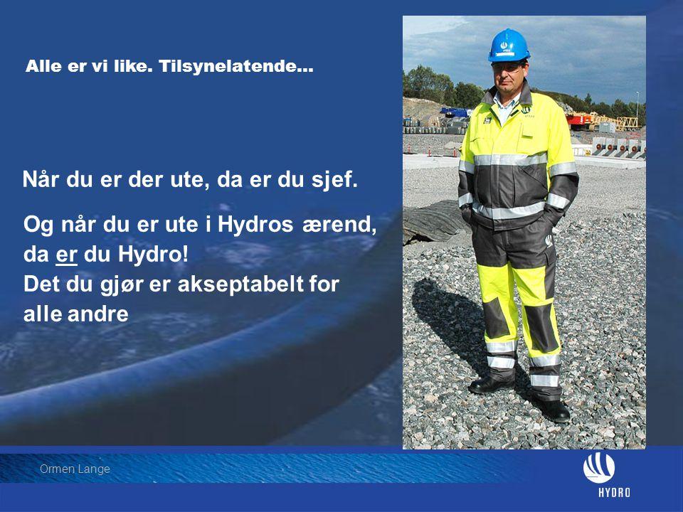 Date: 2004-01-23 • Page: 14 • Hydro Oil & Energy Ormen Lange Alle er vi like. Tilsynelatende… Og når du er ute i Hydros ærend, da er du Hydro! Det du