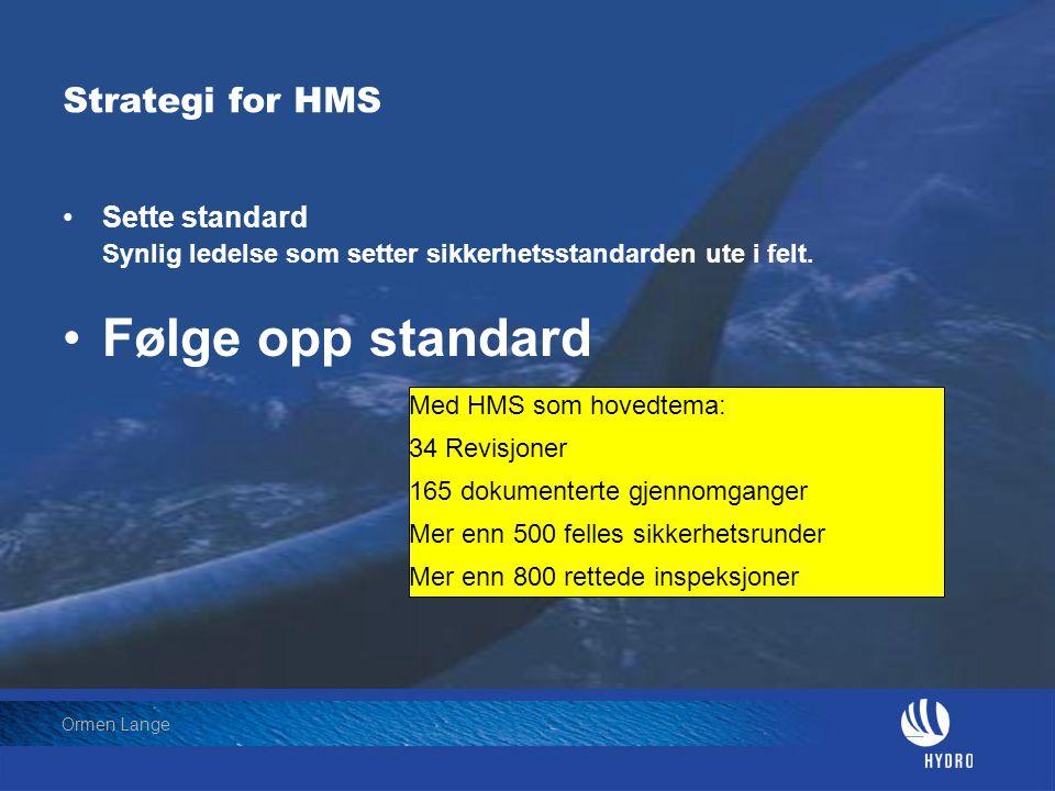 Date: 2004-01-23 • Page: 15 • Hydro Oil & Energy Ormen Lange Strategi for HMS •Sette standard Synlig ledelse som setter sikkerhetsstandarden ute i fel