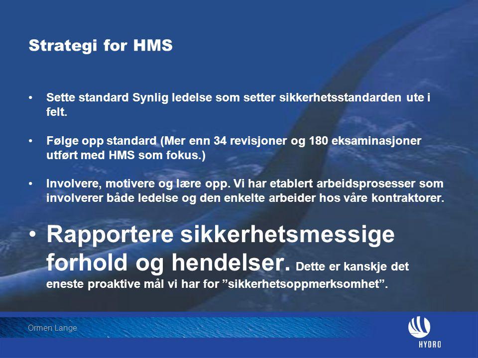 Date: 2004-01-23 • Page: 18 • Hydro Oil & Energy Ormen Lange Strategi for HMS •Sette standard Synlig ledelse som setter sikkerhetsstandarden ute i fel