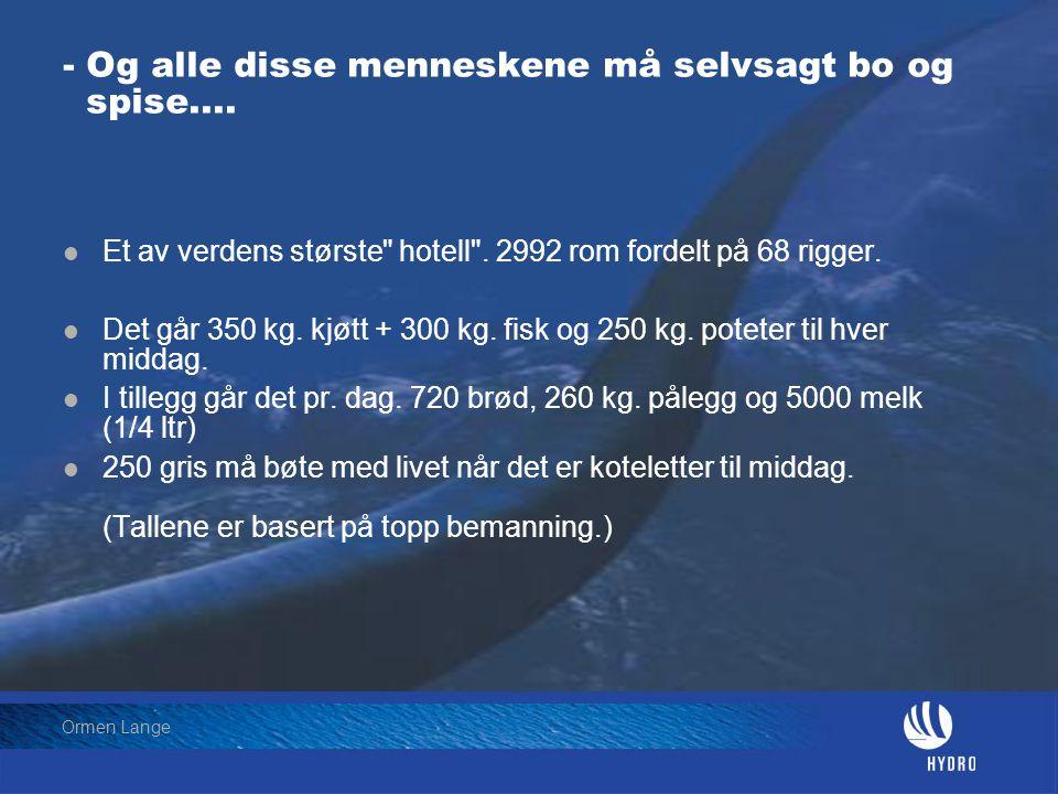 Date: 2004-01-23 • Page: 5 • Hydro Oil & Energy Ormen Lange - Og alle disse menneskene må selvsagt bo og spise....  Et av verdens største