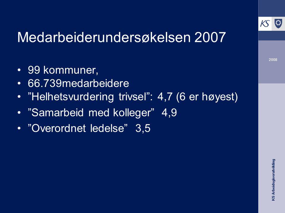 """KS Arbeidsgiverutvikling 2008 Medarbeiderundersøkelsen 2007 •99 kommuner, •66.739medarbeidere •""""Helhetsvurdering trivsel"""": 4,7 (6 er høyest) •""""Samarbe"""