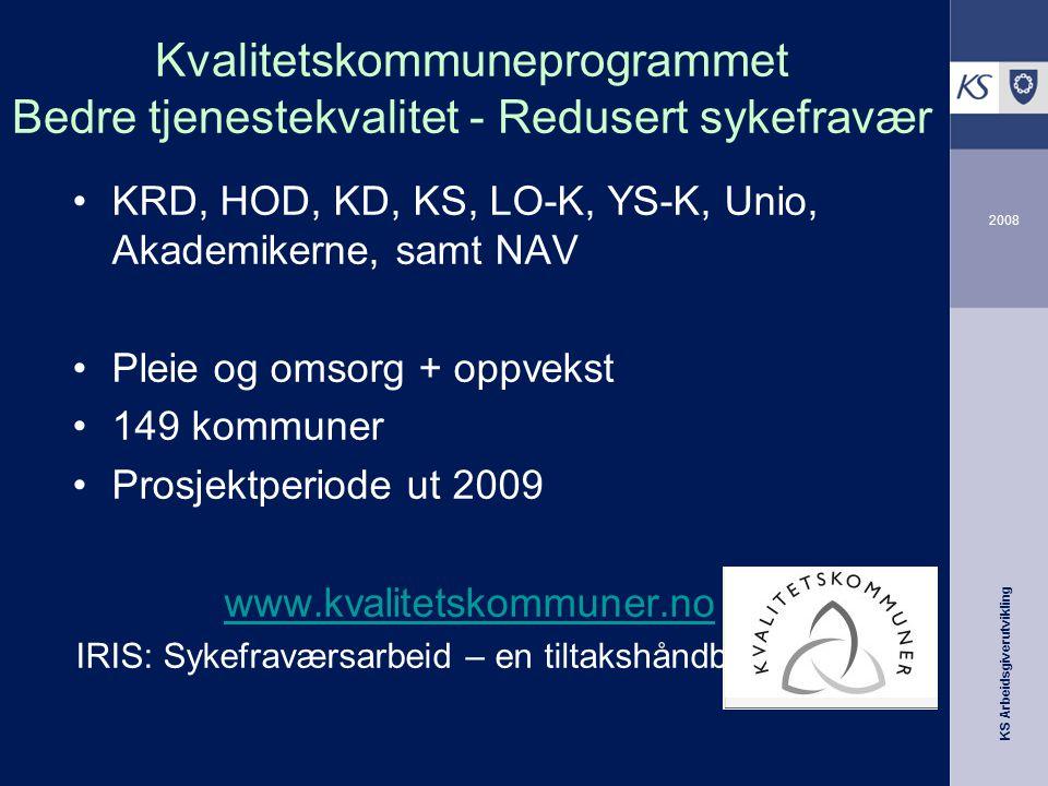 KS Arbeidsgiverutvikling 2008 Kvalitetskommuneprogrammet Bedre tjenestekvalitet - Redusert sykefravær •KRD, HOD, KD, KS, LO-K, YS-K, Unio, Akademikern