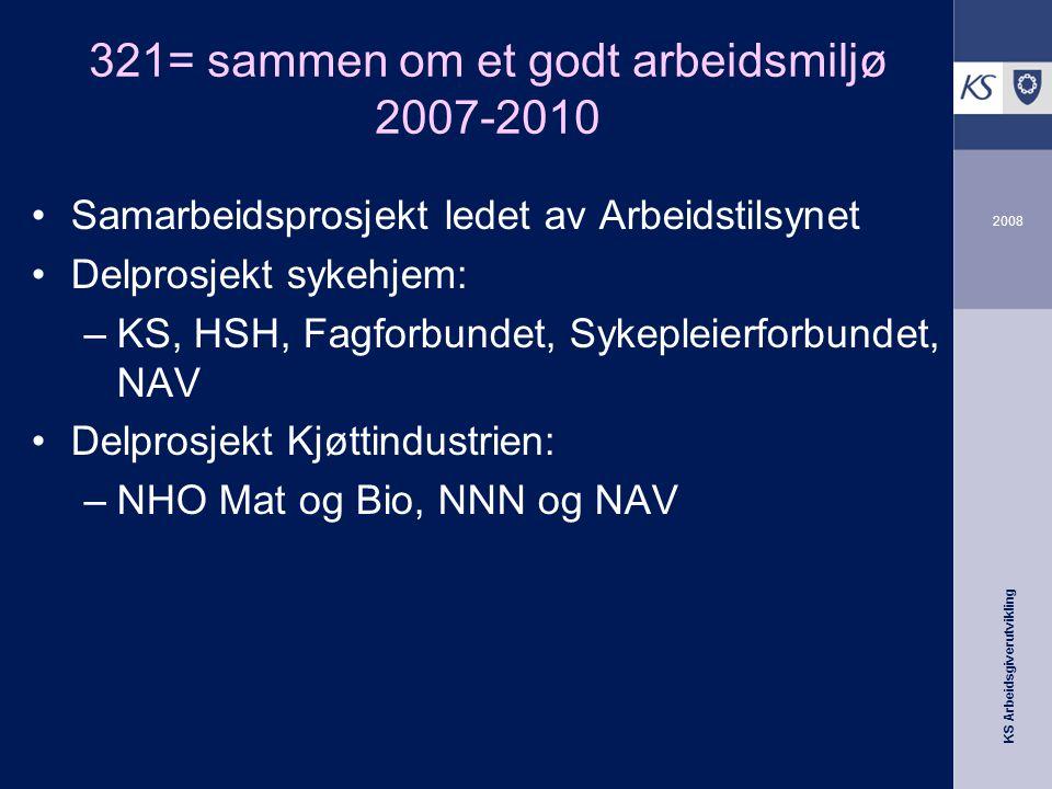 KS Arbeidsgiverutvikling 2008 321= sammen om et godt arbeidsmiljø 2007-2010 •Samarbeidsprosjekt ledet av Arbeidstilsynet •Delprosjekt sykehjem: –KS, H