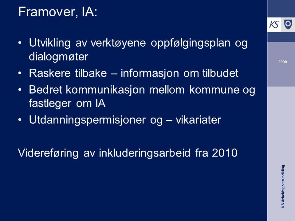 KS Arbeidsgiverutvikling 2008 Framover, IA: •Utvikling av verktøyene oppfølgingsplan og dialogmøter •Raskere tilbake – informasjon om tilbudet •Bedret