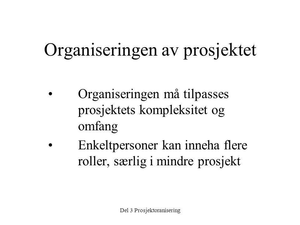 Del 3 Prosjektoranisering Organiseringen av prosjektet • Organiseringen må tilpasses prosjektets kompleksitet og omfang • Enkeltpersoner kan inneha flere roller, særlig i mindre prosjekt