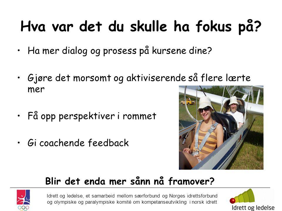 Idrett og ledelse, et samarbeid mellom særforbund og Norges idrettsforbund og olympiske og paralympiske komité om kompetanseutvikling i norsk idrett Hva var det du skulle ha fokus på.