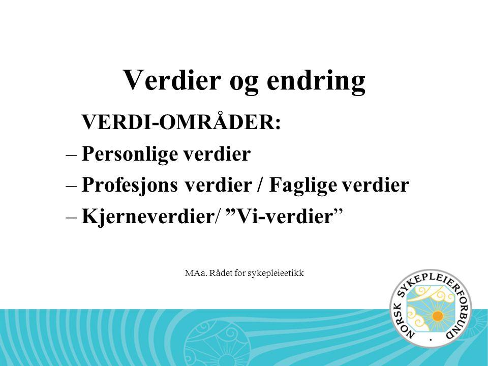 """MAa. Rådet for sykepleieetikk Verdier og endring VERDI-OMRÅDER: –Personlige verdier –Profesjons verdier / Faglige verdier –Kjerneverdier/ """"Vi-verdier"""""""