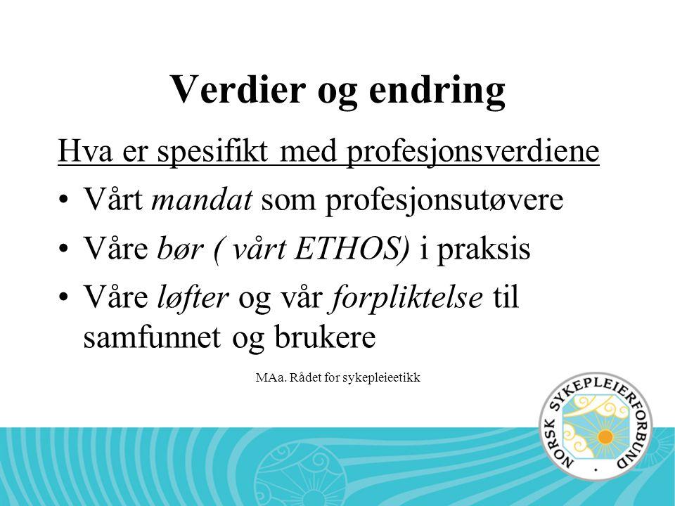 MAa. Rådet for sykepleieetikk Verdier og endring Hva er spesifikt med profesjonsverdiene •Vårt mandat som profesjonsutøvere •Våre bør ( vårt ETHOS) i