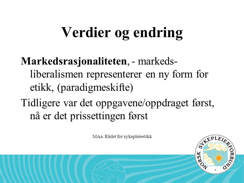 MAa. Rådet for sykepleieetikk Verdier og endring Markedsrasjonaliteten, - markeds- liberalismen representerer en ny form for etikk, (paradigmeskifte)