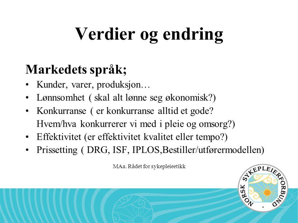 MAa. Rådet for sykepleieetikk Verdier og endring Markedets språk; •Kunder, varer, produksjon… •Lønnsomhet ( skal alt lønne seg økonomisk?) •Konkurrans
