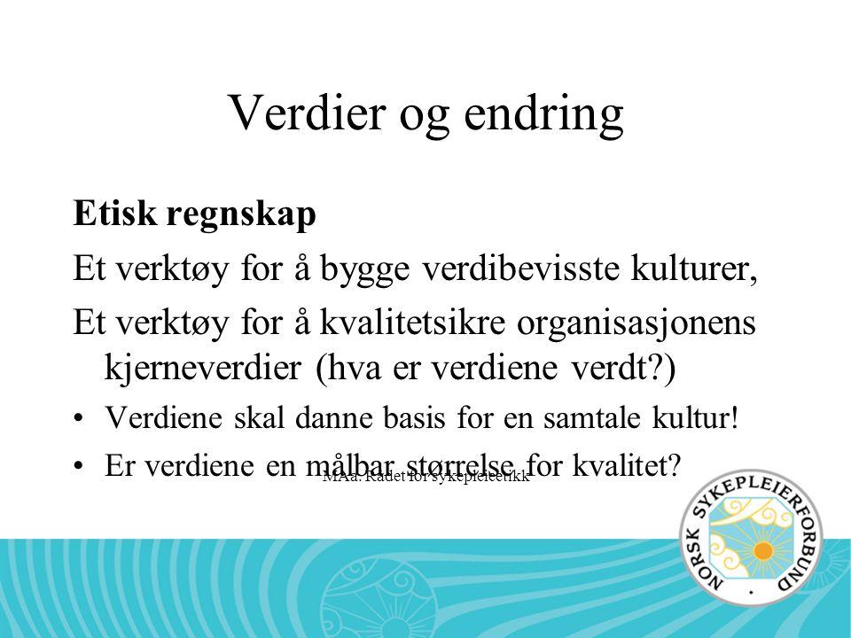 MAa. Rådet for sykepleieetikk Verdier og endring Etisk regnskap Et verktøy for å bygge verdibevisste kulturer, Et verktøy for å kvalitetsikre organisa