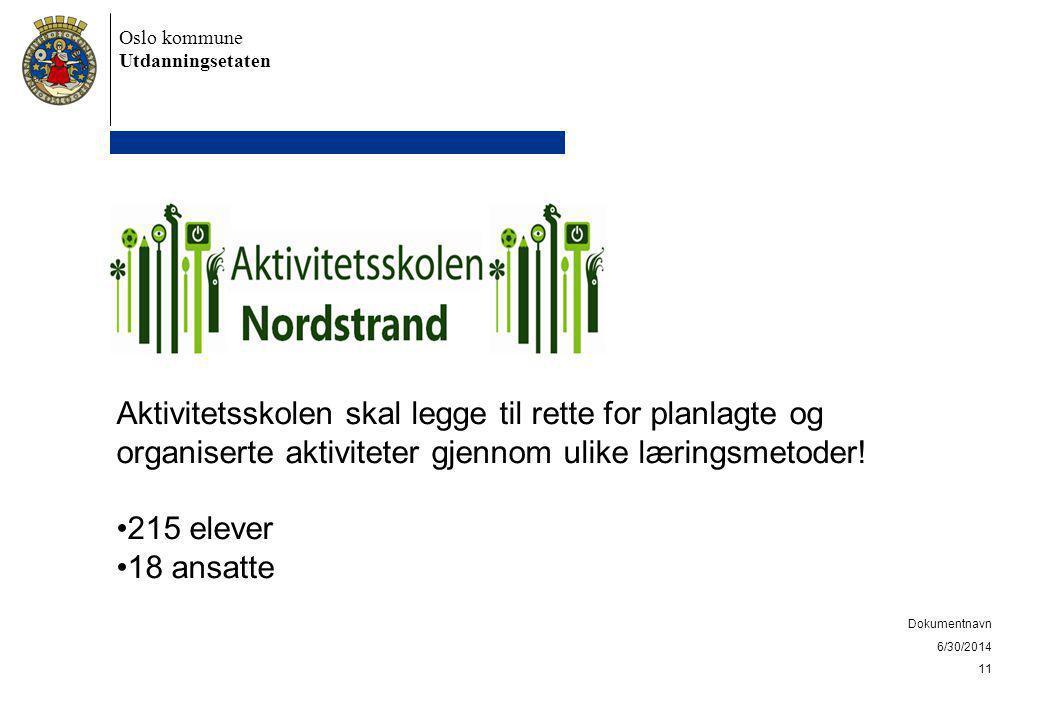Oslo kommune Utdanningsetaten 6/30/2014 Dokumentnavn 11 Aktivitetsskolen skal legge til rette for planlagte og organiserte aktiviteter gjennom ulike læringsmetoder.