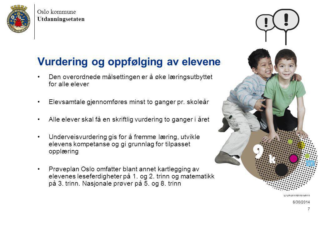 Oslo kommune Utdanningsetaten 6/30/2014 Dokumentnavn 7 Vurdering og oppfølging av elevene •Den overordnede målsettingen er å øke læringsutbyttet for alle elever •Elevsamtale gjennomføres minst to ganger pr.