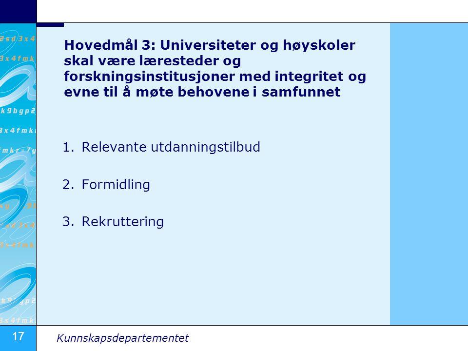 17 Kunnskapsdepartementet Hovedmål 3: Universiteter og høyskoler skal være læresteder og forskningsinstitusjoner med integritet og evne til å møte beh