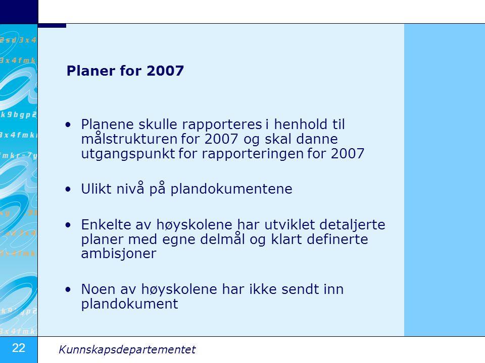 22 Kunnskapsdepartementet Planer for 2007 •Planene skulle rapporteres i henhold til målstrukturen for 2007 og skal danne utgangspunkt for rapportering