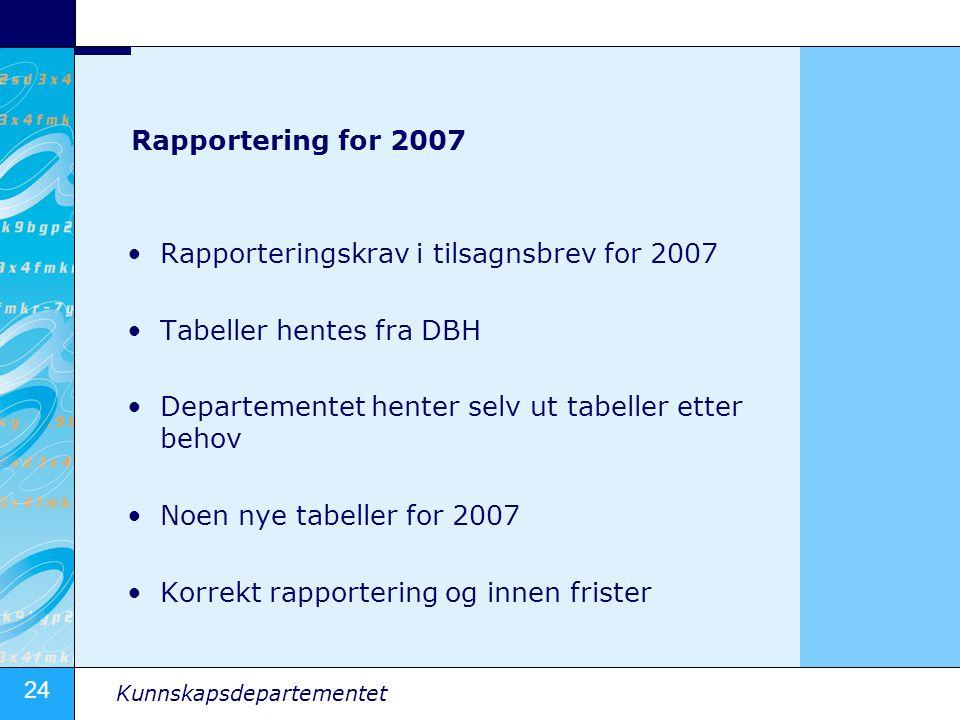24 Kunnskapsdepartementet Rapportering for 2007 •Rapporteringskrav i tilsagnsbrev for 2007 •Tabeller hentes fra DBH •Departementet henter selv ut tabe