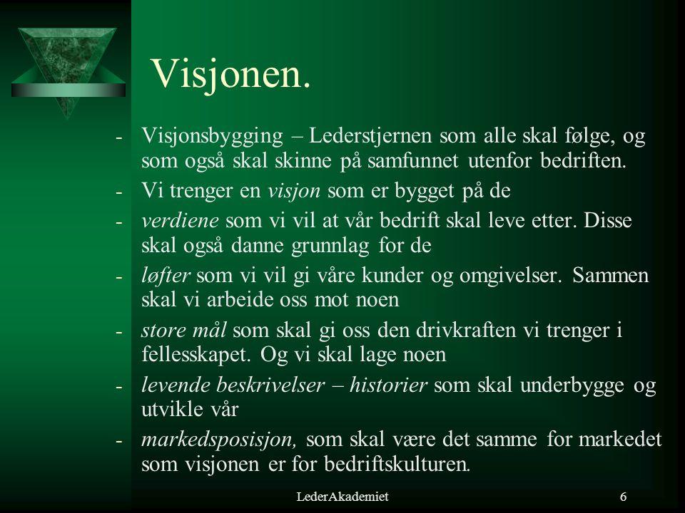 LederAkademiet6 Visjonen. - Visjonsbygging – Lederstjernen som alle skal følge, og som også skal skinne på samfunnet utenfor bedriften. - Vi trenger e