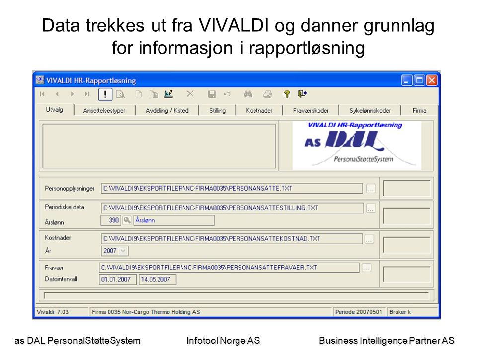 as DAL PersonalStøtteSystem Business Intelligence Partner AS Infotool Norge AS Data trekkes ut fra VIVALDI og danner grunnlag for informasjon i rappor