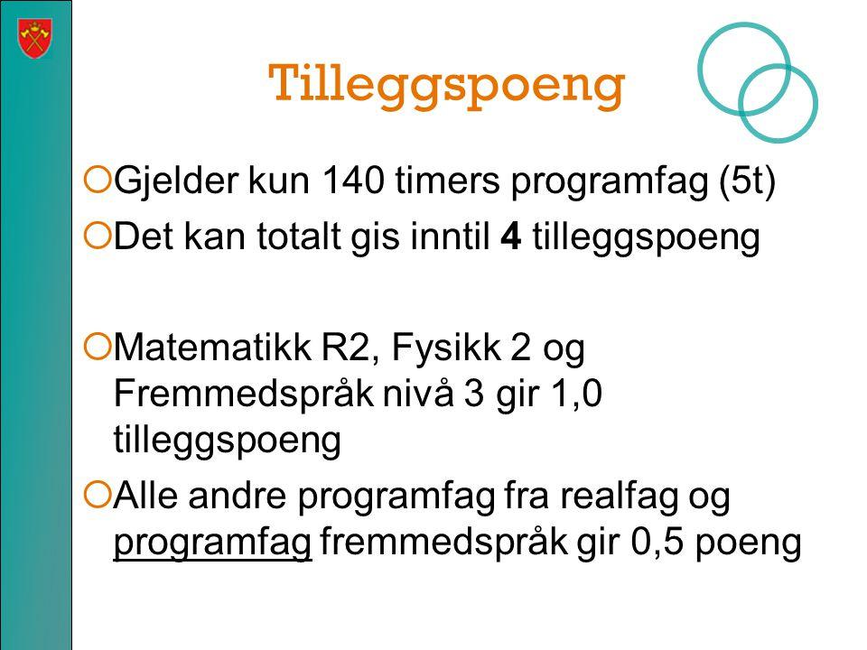 Tilleggspoeng  Gjelder kun 140 timers programfag (5t)  Det kan totalt gis inntil 4 tilleggspoeng  Matematikk R2, Fysikk 2 og Fremmedspråk nivå 3 gir 1,0 tilleggspoeng  Alle andre programfag fra realfag og programfag fremmedspråk gir 0,5 poeng