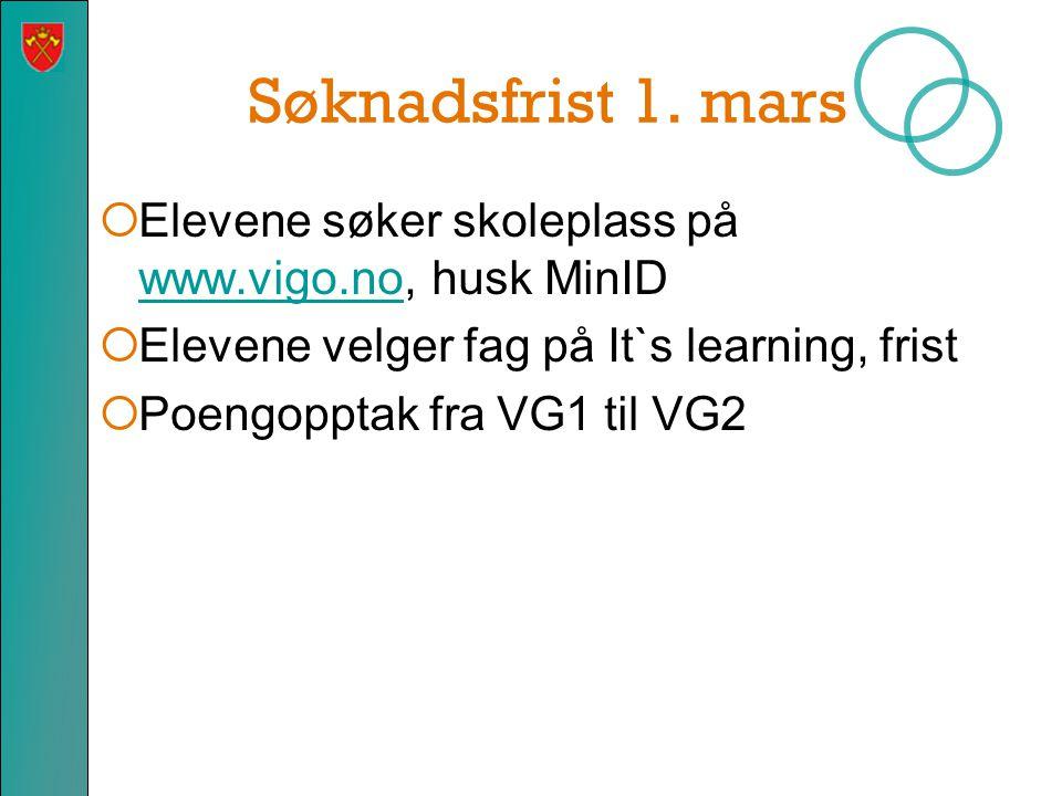 Søknadsfrist 1. mars  Elevene søker skoleplass på www.vigo.no, husk MinID www.vigo.no  Elevene velger fag på It`s learning, frist  Poengopptak fra