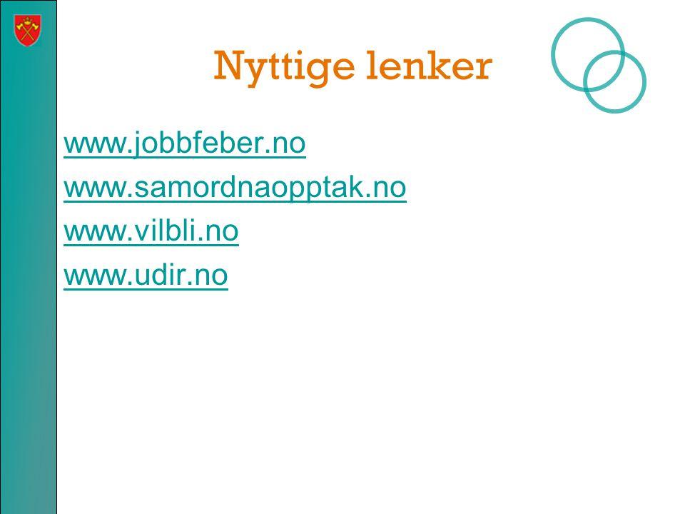 Nyttige lenker www.jobbfeber.no www.samordnaopptak.no www.vilbli.no www.udir.no