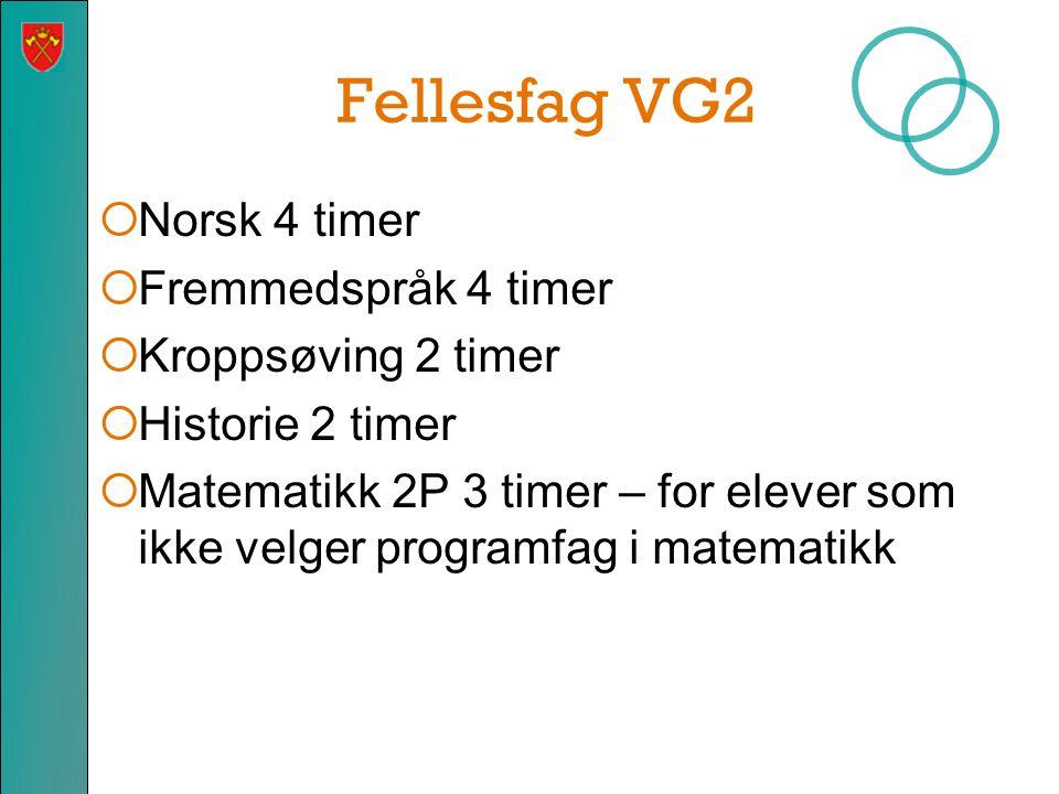Fellesfag VG2  Norsk 4 timer  Fremmedspråk 4 timer  Kroppsøving 2 timer  Historie 2 timer  Matematikk 2P 3 timer – for elever som ikke velger pro
