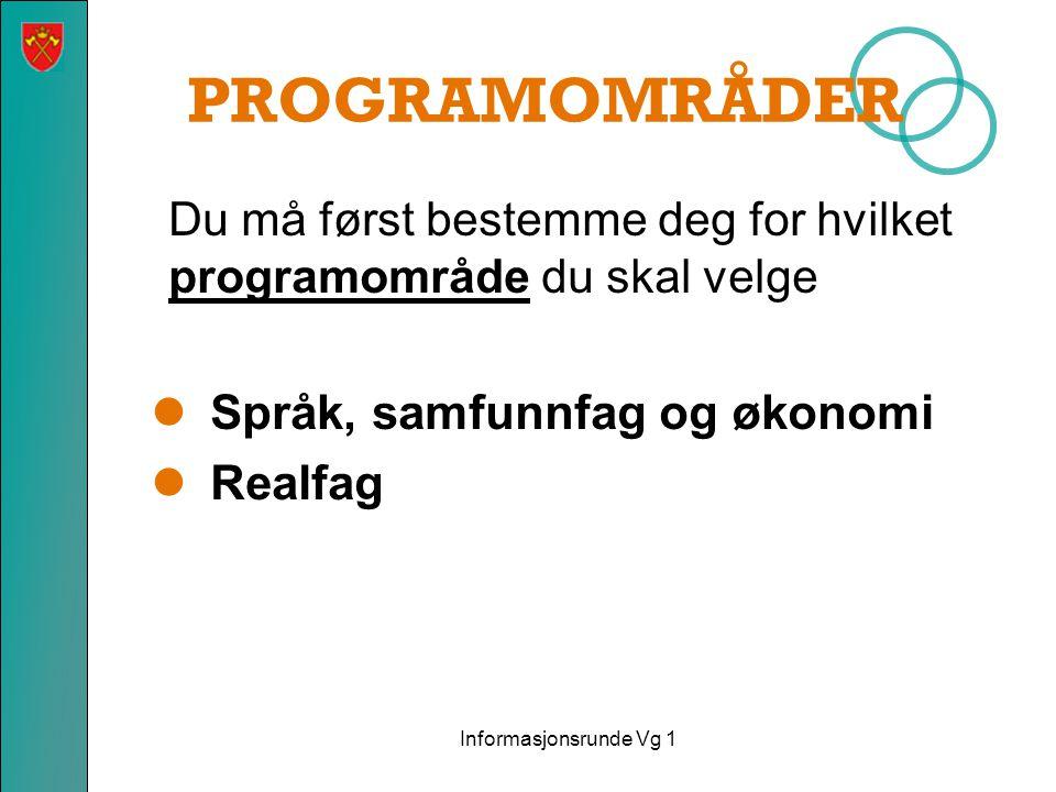 PROGRAMOMRÅDER Du må først bestemme deg for hvilket programområde du skal velge  Språk, samfunnfag og økonomi  Realfag Informasjonsrunde Vg 1